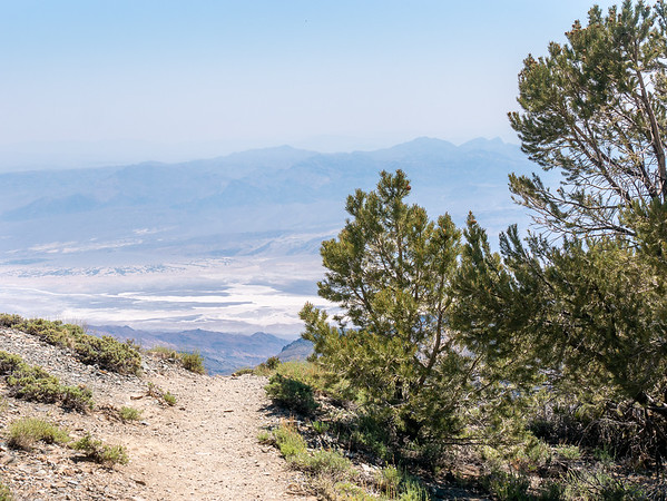Heading down.  The Furnace Creek Ranch area is the hazy green square at the far left in the distance.
