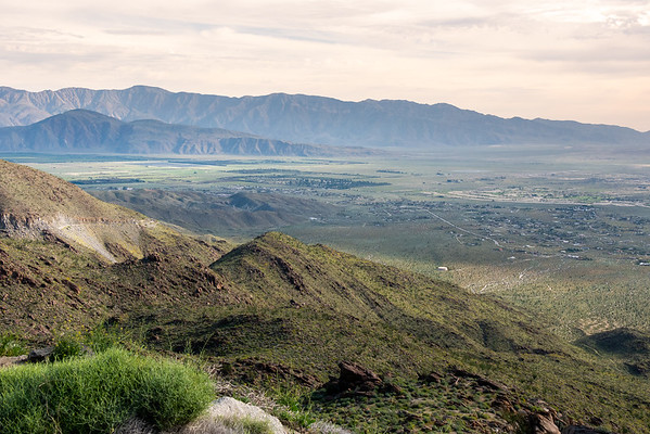 Another overlook, this one a little higher at 2,300'.  Coyote Mountain is the lower mountain at the distant left: the sunflower fields are directly beneath and Coyote Canyon is to the left.  The commercial part of the town of Borrego Springs is behind the low hills.