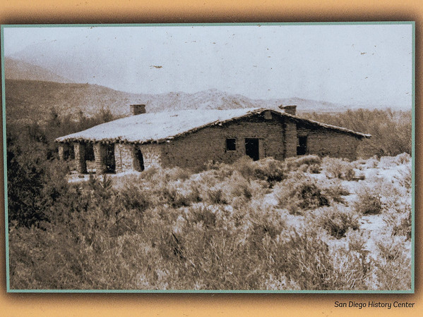 This is from a roadside display at the south end of Box Canyon.  Based on other pictures at the county park -- better documented but lower in quality -- I believe this is a 1902 view of the stage station.  The current building is a 1934 restoration, with subsequent upkeep.