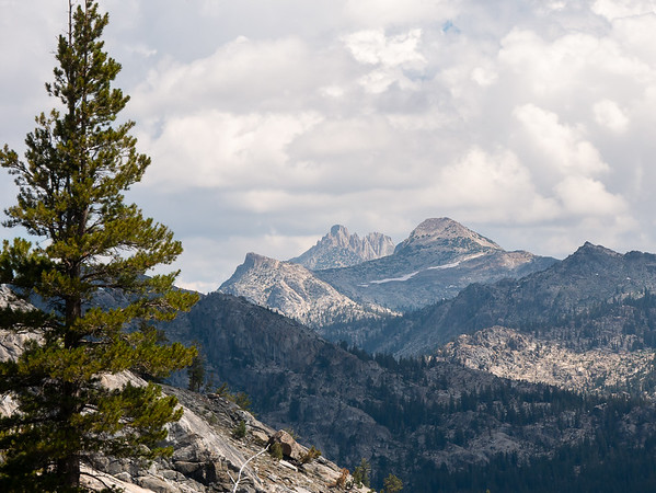 I had lunch at a promontory at the top of the climb.   Looking north, a last view of Tower Peak.