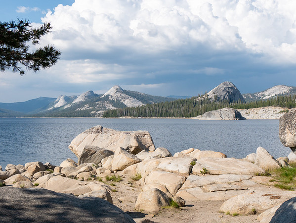 On to Courtright Reservoir.  The view from camp.  Left center is Maxson Dome.  The lone dome at the right is Voyager Rock, which attracts lots of climbers.  While the clouds look impressive, and I heard one very distant rumble, there was no rain.