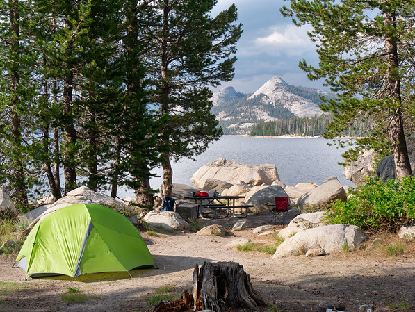 Site 9 at the Marmot Rock Campground on Courtright Reservoir.   Maxson Dome Rock behind.