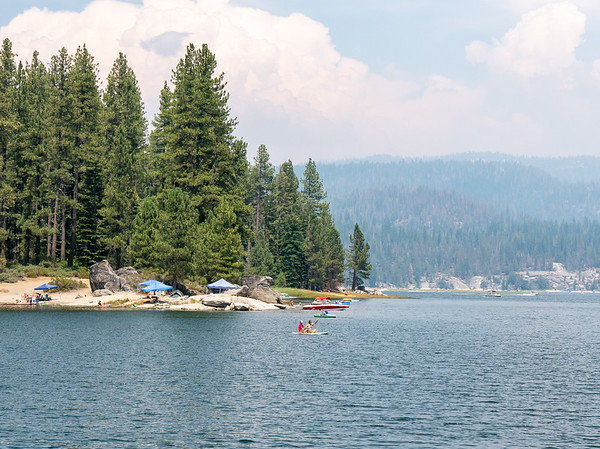 Monday, July 23.  Driving up.  I had lunch at the Dorabelle Picnic Area on Shaver Lake.  There's a fair amount of smoke haze in the air from the Ferguson Fire near Yosemite.  Not that that's stopping any of the action on the lake.  The good news is that I will be driving south from here, away from the smoke.
