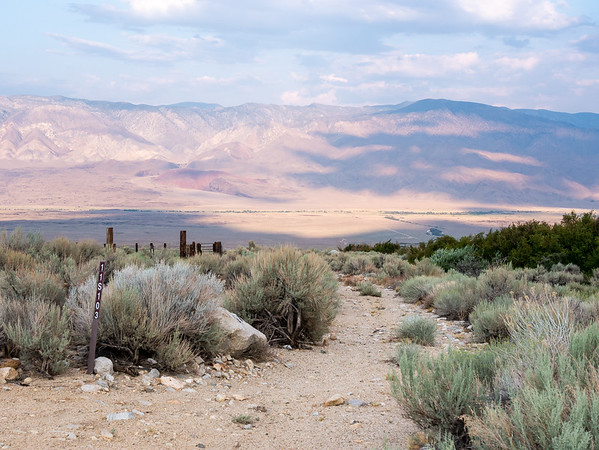 I camped about 1/2 mile below Taboose Pass trailhead near two corrals -- one no longer serviceable and one that may be.  The Owens Valley is 1400' below, with the Inyo Mountains beyond.