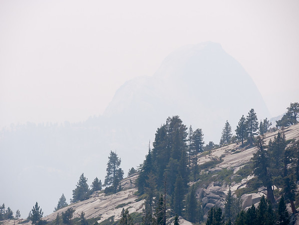 Half Dome was barely there.  Even trees in the middle distance were partially obscured.