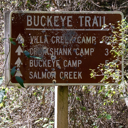 An old sign marks the trail.