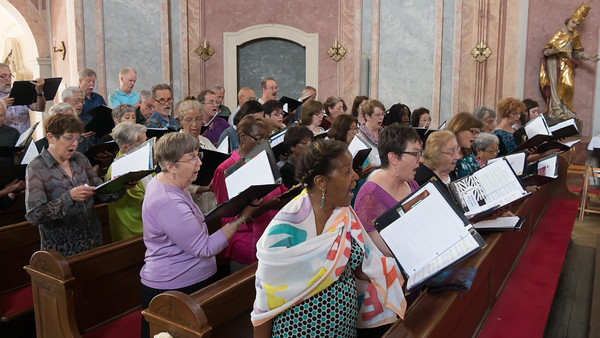 Singing now.  Haydn's Ave Maria ... with a variety of views of the room. (3:43 video - click to play.)