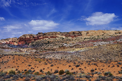 Hot day at Arches National Monument -- Cryptobiotic Soil, and multiple minerals.  Schneider 210mm lens, Fuji Velvia 50