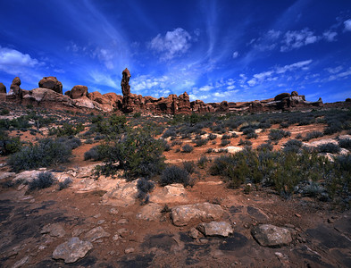 Arches National Monument, Fuji Velvia 50, Schneider 72mm XL lens with center filter, minus one stop.