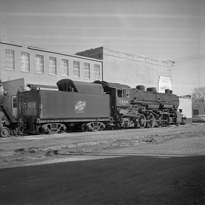 2018.008.CNW.S.0008--bruce meyer 116 neg--C&NW--steam locomotive 2-8-2 J-S 2588 (retired) rear tender view--Rochelle IL--1956 1123