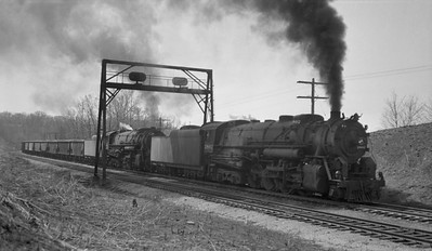 2018.008.CNW.S.0067--bruce meyer 116 neg--C&NW--steam locomotive 2-8-4 J-4 2802 2805 double-heading on freight train action--near Green Valley IL--1943 0000