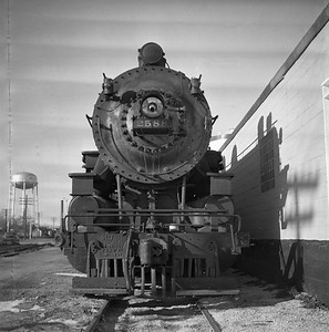 2018.008.CNW.S.0004--bruce meyer 116 neg--C&NW--steam locomotive 2-8-2 J-S 2588 (retired) front detail--Rochelle IL--1956 1123