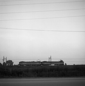 2018.008.CSSSB.I.013--bruce meyer 120 neg--CSS&SB--electric interurban eastbound passenger train at 130th and Torrence--Chicago IL--1958 0623