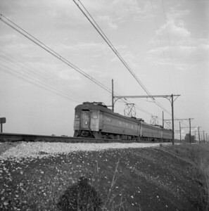 2018.008.CSSSB.I.010--bruce meyer 120 neg--CSS&SB--electric interurban westbound passenger train crossing bridge at 130th and Torrence--Chicago IL--1958 0623