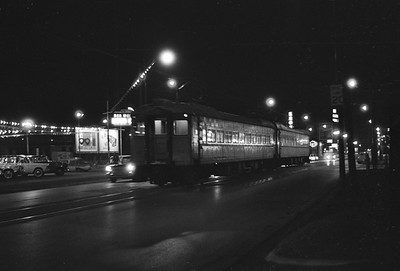 2018.008.CSSSB.I.095--bruce meyer 35mm neg--CSS&SB--electric interurban passenger train waiting at LaSalle Street downtown at night--South Bend IN--1962 1100