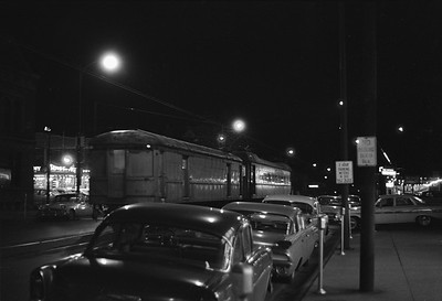 2018.008.CSSSB.I.101--bruce meyer 35mm neg--CSS&SB--electric interurban 104 and baggage 503 at LaSalle Street downtown station at night--South Bend IN--1962 1100