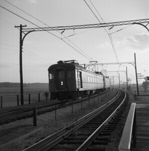 2018.008.CSSSB.I.004--bruce meyer 120 neg--CSS&SB--electric interurban eastbound passenger train at 130th and Torrence--Chicago IL--1958 0616
