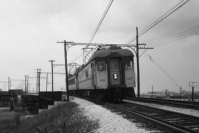2018.008.CSSSB.I.130--bruce meyer 35mm neg--CSS&SB--electric interurban 111 on eastbound passenger train at 130th Street and Torrence--Hegewisch IL--1963 0400