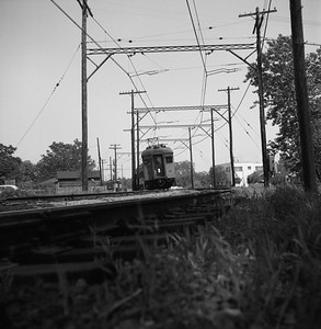 2018.008.CSSSB.I.002--bruce meyer 120 neg--CSS&SB--electric interurban westbound passenger train at State Line Tower--Hammond IN--1958 0529