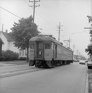 2018.008.CSSSB.I.050--bruce meyer 120 neg--CSS&SB--electric interurban 107 on eastbound passenger train street running--Michigan City IN--1979 0828