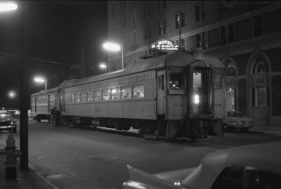 2018.008.CSSSB.I.098--bruce meyer 35mm neg--CSS&SB--electric interurban 104 and baggage 503 at LaSalle Street downtown station at night--South Bend IN--1962 1100
