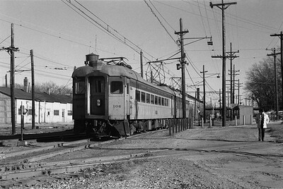 2018.008.CSSSB.I.082--bruce meyer 35mm neg--CSS&SB--electric interurban 106 and 7 on eastbound passenger train--Michigan City IN--1962 1100