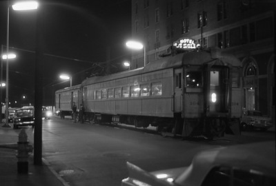 2018.008.CSSSB.I.097--bruce meyer 35mm neg--CSS&SB--electric interurban 104 and baggage 503 at LaSalle Street downtown station at night--South Bend IN--1962 1100