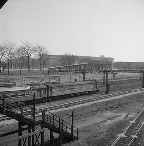 2018.008.CSSSB.I.035--bruce meyer 120 neg--CSS&SB--electric interurban 103 on southboun passenger train passing ICRR Central Station at 12th Street--Chicago IL--1971 0321