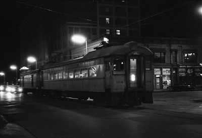 2018.008.CSSSB.I.100--bruce meyer 35mm neg--CSS&SB--electric interurban 104 and baggage 503 at LaSalle Street downtown station at night--South Bend IN--1962 1100