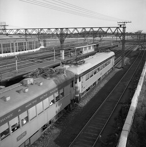 2018.008.CSSSB.I.020--bruce meyer 120 neg--CSS&SB--electric interurban southbound passenger train passing 27th Street yard--Chicago IL--1958 0820