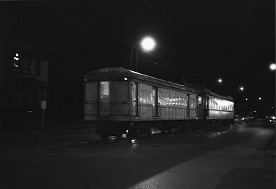 2018.008.CSSSB.I.102--bruce meyer 35mm neg--CSS&SB--electric interurban 104 and baggage 503 at LaSalle Street downtown station at night--South Bend IN--1962 1100