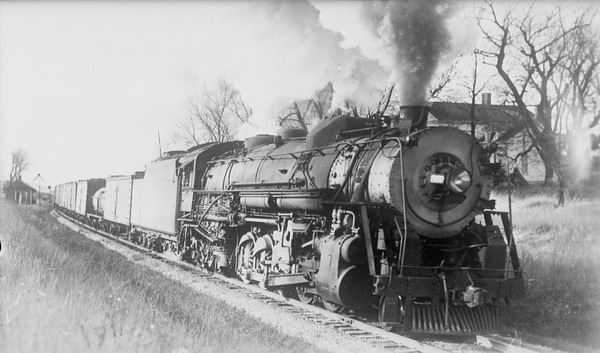 2018.008.CGW.S.10--bruce meyer 116 COPY neg [R Nichols]--CGW--steam locomotive 2-10-4 T-1 860 on eastbound freight train 1st 52 at Schmale Road action--Gretna IL--1943 1111