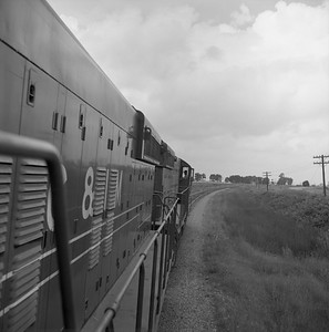 2018.008.CIM.F.087--bruce meyer 120 neg--C&IM--diesel freight train northbound view from locomotive--Petersburg IL--1959 0610