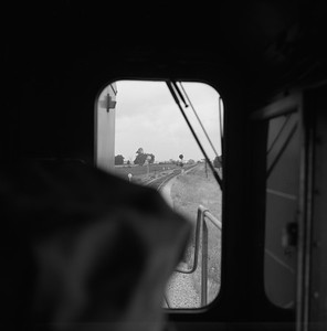 2018.008.CIM.F.088--bruce meyer 120 neg--C&IM--diesel freight train northbound view from cab--Petersburg IL--1959 0610