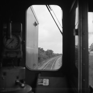 2018.008.CIM.F.085--bruce meyer 120 neg--C&IM--diesel freight train northbound view from cab--Petersburg IL--1959 0610