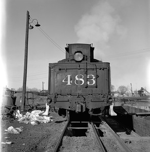 2018.008.DRGW.S.036--bruce meyer 120 neg--D&RGW--narrow gauge steam locomotive 2-8-2 483 rear tender view at ashpit--Alamosa CO--1961 0311