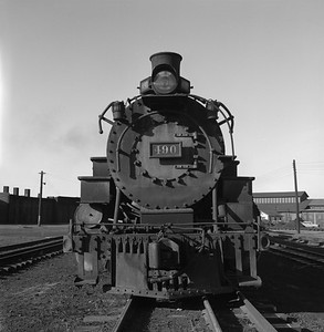 2018.008.DRGW.S.018--bruce meyer 120 neg--D&RGW--narrow gauge steam locomotive 2-8-2 K-37 490 front view--Alamosa CO--1961 0311