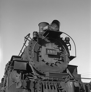 2018.008.DRGW.S.019--bruce meyer 120 neg--D&RGW--narrow gauge steam locomotive 2-8-2 K-37 490 front view--Alamosa CO--1961 0311