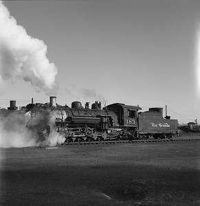 2018.008.DRGW.S.034--bruce meyer 120 neg--D&RGW--narrow gauge steam locomotive 2-8-2 483 yard scene action--Alamosa CO--1961 0311