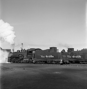 2018.008.DRGW.S.033--bruce meyer 120 neg--D&RGW--narrow gauge steam locomotive 2-8-2 483 yard scene action--Alamosa CO--1961 0311