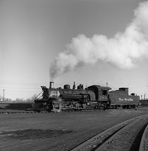 2018.008.DRGW.S.040--bruce meyer 120 neg--D&RGW--narrow gauge steam locomotive 2-8-2 483 scene in yard action--Alamosa CO--1961 0311