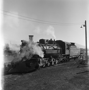 2018.008.DRGW.S.037--bruce meyer 120 neg--D&RGW--narrow gauge steam locomotive 2-8-2 483--Alamosa CO--1961 0311