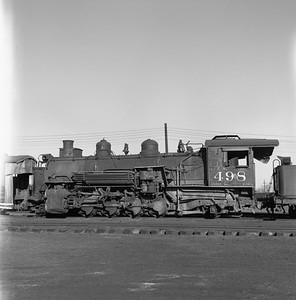 2018.008.DRGW.S.027--bruce meyer 120 neg--D&RGW--narrow gauge steam locomotive 2-8-2 K-37 498 (dead)--Alamosa CO--1961 0311