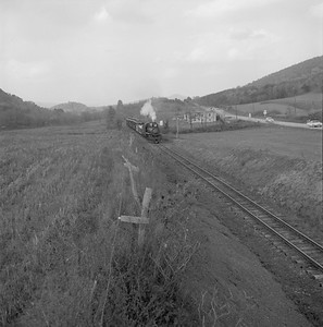 2018.008.EBT.S.21--bruce meyer 120 neg--EBT--steam locomotive 2-8-2 12 with passenger excursion action--north of Orbisonia PA--1960 1016