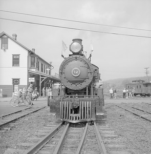 2018.008.EBT.S.02--bruce meyer 120 neg--EBT--steam locomotive 2-8-2 12 with passenger excursion train at depot--Rockhill PA--1960 1016