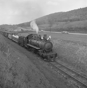 2018.008.EBT.S.22--bruce meyer 120 neg--EBT--steam locomotive 2-8-2 12 with passenger excursion train--north of Orbisonia PA--1960 1016