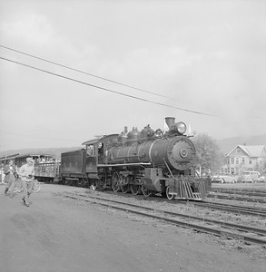 2018.008.EBT.S.05--bruce meyer 120 neg--EBT--steam locomotive 2-8-2 12 with passenger excursion train boarding--Rockhill PA--1960 1016