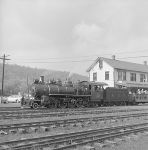 2018.008.EBT.S.01--bruce meyer 120 neg--EBT--steam locomotive 2-8-2 12 with passenger excursion train at depot--Rockhill PA--1960 1016