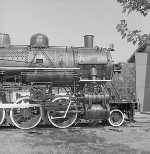 2018.008.GBW.S.218--bruce meyer 120 neg--GB&W--steam locomotive 2-8-0 49 on display detail at museum--North Freedom WI--1988 0529