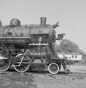2018.008.GBW.S.219--bruce meyer 120 neg--GB&W--steam locomotive 2-8-0 49 on display detail at museum--North Freedom WI--1988 0529